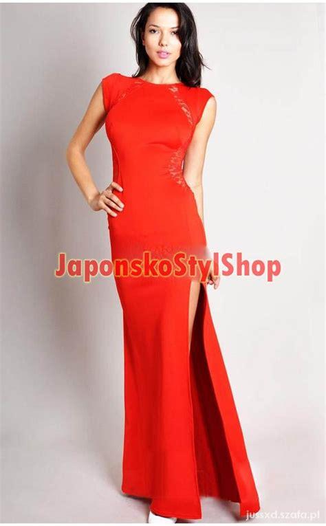 sukienka maxi czerwona koronka s w suknie i sukienki szafa pl