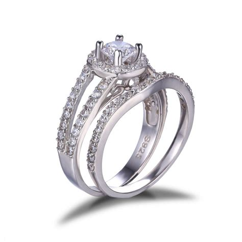 cz halo bridal engagement wedding ring genuine 925 sterling silver top quality aaa fine
