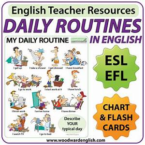 Daily Routines in English Chart and Flash Cards – ESL EFL ...