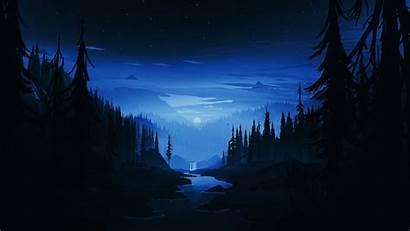 Dark Forest Night Minimal River Desktop Background