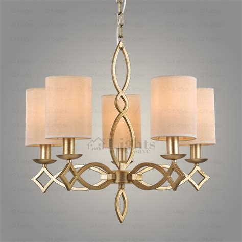 Clearance Chandeliers - texture 5 light fabric shade cylinder shaped clearance