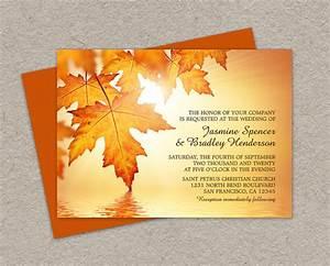 diy printable fall wedding invitations with leaves fall With blank autumn wedding invitations