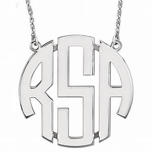 new 0925 sterling silver 3 letter block 40mm monogram With 3 letter monogram silver necklace