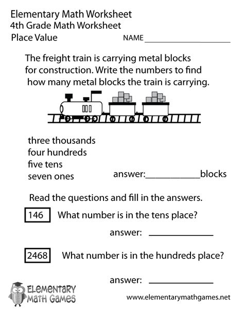 fourth grade place  worksheet
