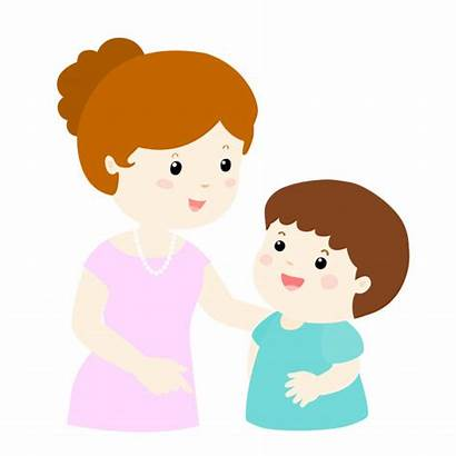 Cartoon Mom Son Talk Mother Gently Talking