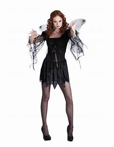 Disfarce De Anjo Preto Com Asas Mulher Halloween