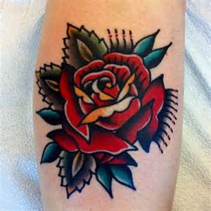 American Traditional Rose Tattoo Designs