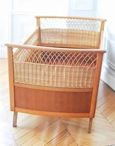 Lit Enfant Rotin : lit enfant vintage en bois et rotin mes petites puces ~ Teatrodelosmanantiales.com Idées de Décoration