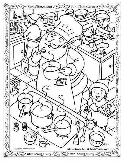 Cooking Coloring Kitchen Pages Santa Utensils Pizza