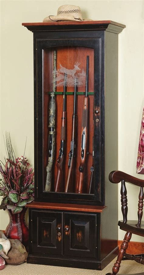 Wood Gun Cabinet With Deer Etched Glass by Wood Gun Cabinet With Deer Etched Glass Cabinets Design