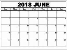 June 2018 Calendar Monday to Sunday New Design Template Free