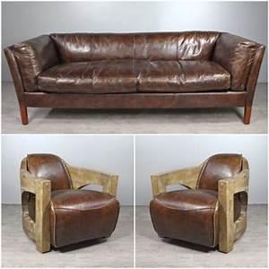Canapé Cuir Fauteuil : canap cuir marron vintage avec 2 fauteuils club cuir et ~ Premium-room.com Idées de Décoration