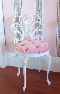Vintage, White, Scrolly, Boudoir, Vanity, Chair, By, Pinkchicboutique