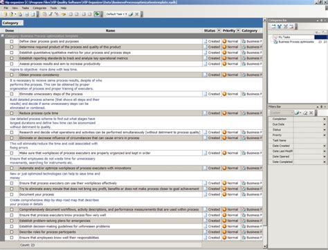 business process template business process optimization template to do list organizer checklist pim time and task