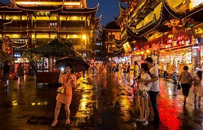 China Shanghai Street Umbrellas Restaurants Stores Square