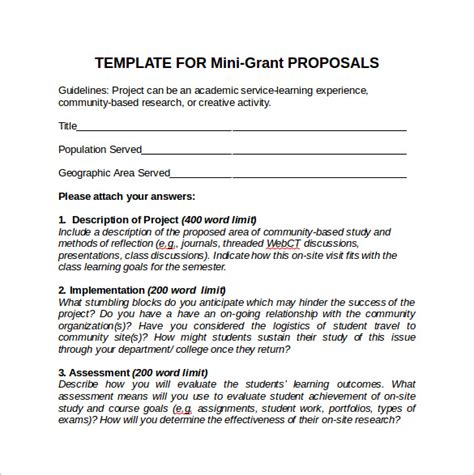 sample grant proposals   ms word pages