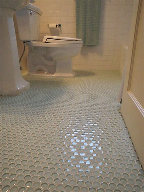 1940 39 3 bath room up date with glass penny round floor and white subway wall tile