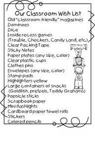 Classroom Wish List Template