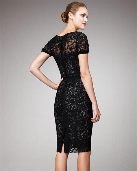 dolce gabbana short sleeve lace dress  black lyst