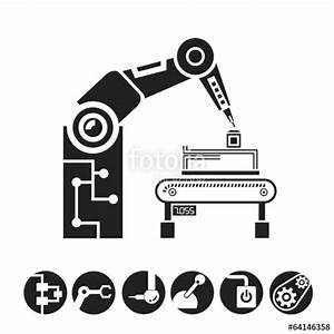 """robotic arm, manufacturing icons"" Stock image and royalty ..."