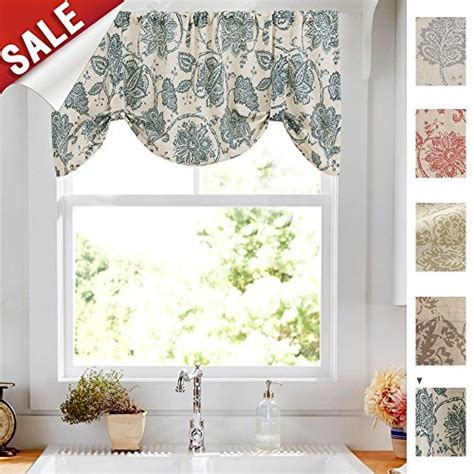 20 Inch Valance Curtains by Tie Up Valances For Kitchen Windows Jacobean Floral
