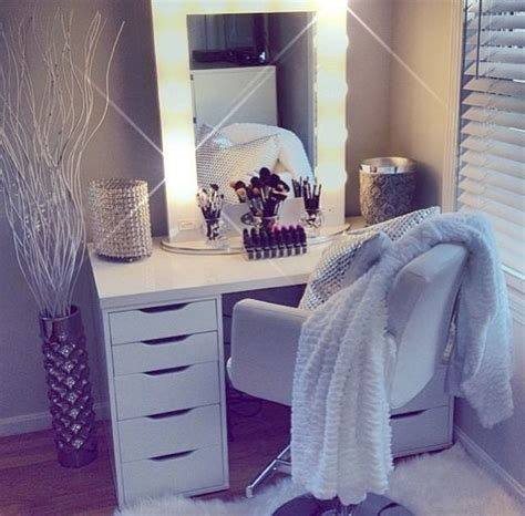 White Vanity Makeup Station by White Vanity Dressing Table From Ikea With Light