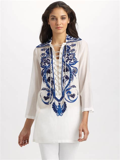 embroidery tunic lyst emilio pucci embroidered voile tunic in blue