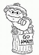 Coloring Oscar Grouch Away Go Pages Sesame Sign Halloween sketch template