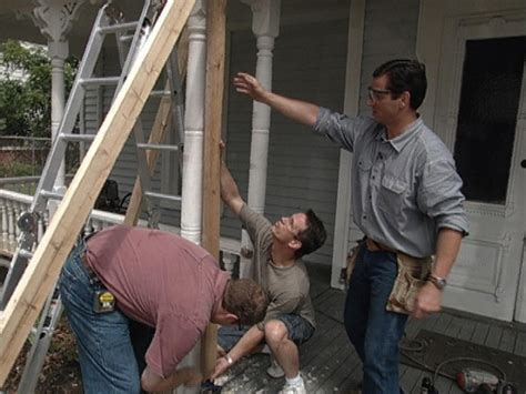 remove  brace  rotting porch column  tos diy