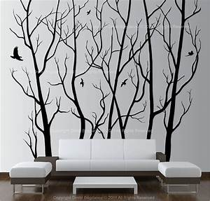 large wall art decor vinyl tree forest decal sticker With large wall art