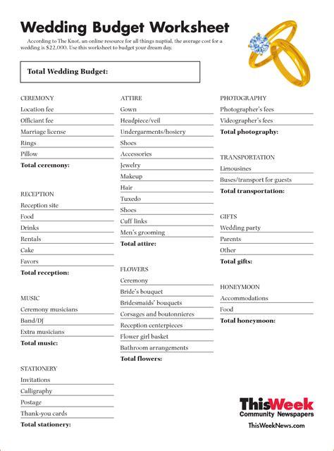 3 Wedding Budget Worksheet  Printable Receipt