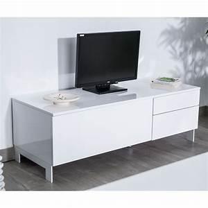 Meuble Bois Et Blanc : meuble tv bois et blanc laqu id es de d coration int rieure french decor ~ Teatrodelosmanantiales.com Idées de Décoration
