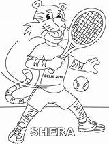 Tennis Coloring Racket Shera Playing Pages Lawn Printable Getcolorings sketch template