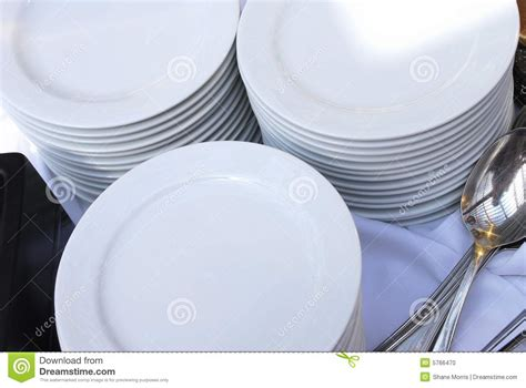 stacks  catering plates  spoons stock photo image  service eating