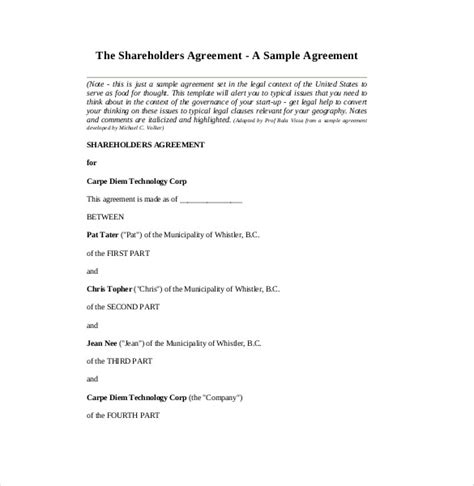 Simple Shareholders Agreement Template by Shareholder Agreement Template Free Simple Shareholders