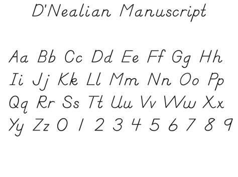 eastern elementary school uses d nealian handwriting