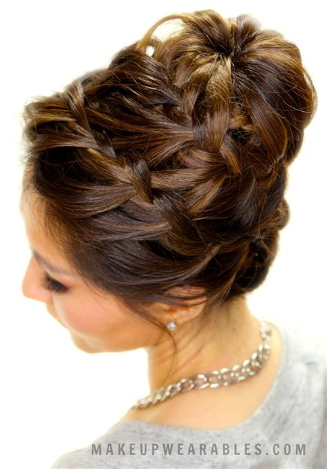 cute braided bun hair tutorial updo hairstyles  short
