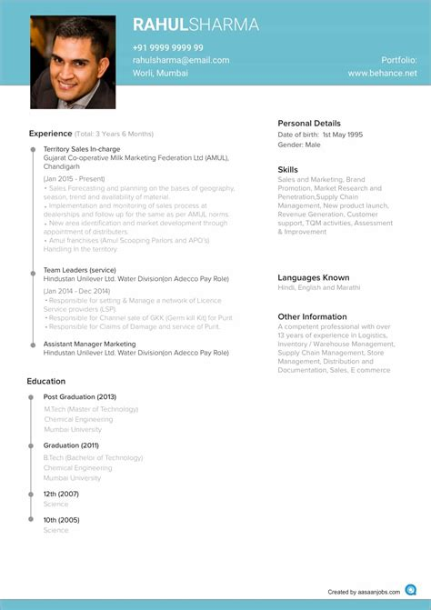 Best Official Resume Format by Resume Format Cv Format Resume Sle At Aasaanjobs