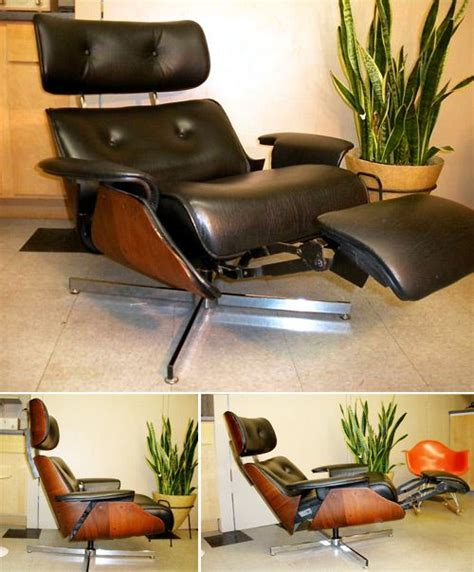 plycraft eames style recliner with built in footrest mid