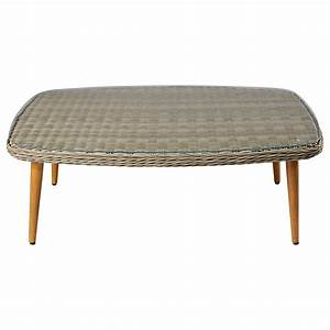 garden coffee table in tempered glass and resin wicker With outdoor resin wicker coffee table