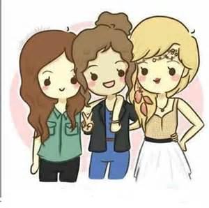 Cute Cartoon Girl Best Friends