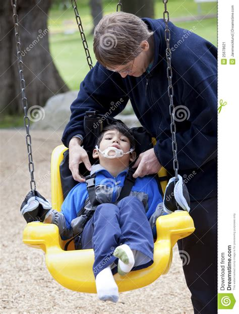 handicap swing pushing disabled on handicap swing stock image