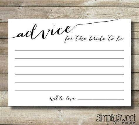 Bridal Shower Advice Cards For The Bride By