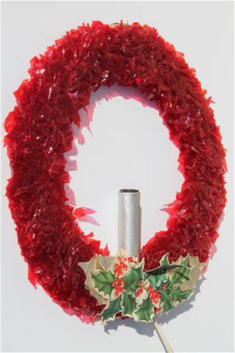 vintage christmas decorations red cellophane chenille