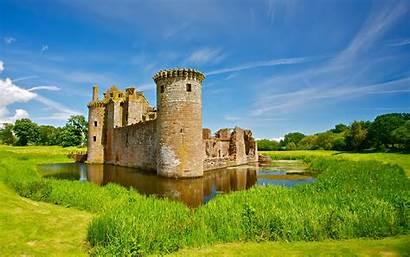 Castle Scotland Desktop Wallpapers Caerlaverock Castles Pond