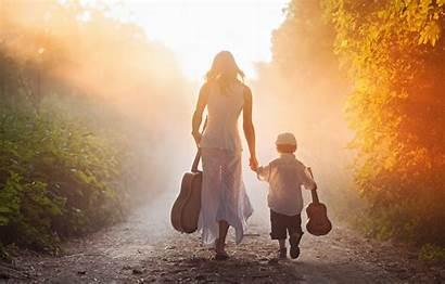 Son Mom Boy Guitar Road Mama Morning