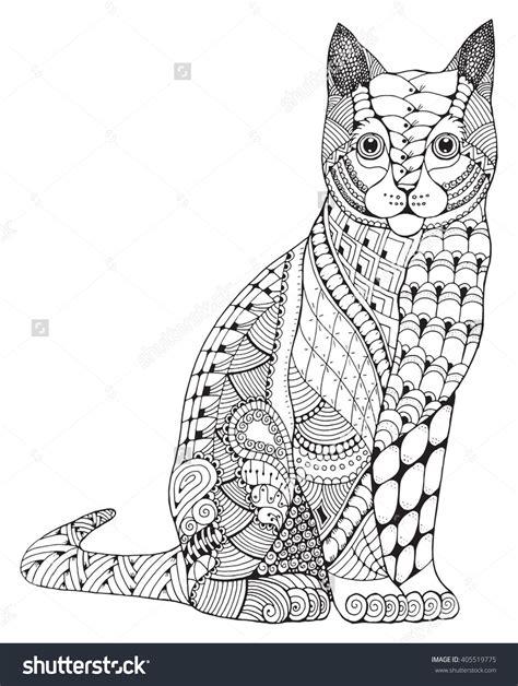 Zentangle Cat Coloring Page  Papír  Pinterest Cat