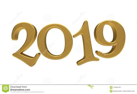 Greeting Card Design Template Gold 2019 Lettering Isolated