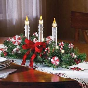 Candy Cane Flameless Candle Holiday Centerpiece from