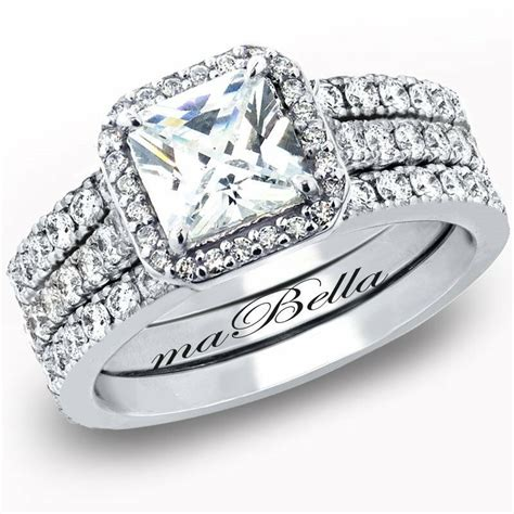 3 pcs women princess cut sterling silver bridal wedding engagement ring ebay